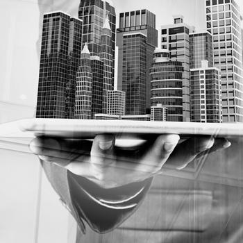 edificios mano tablet