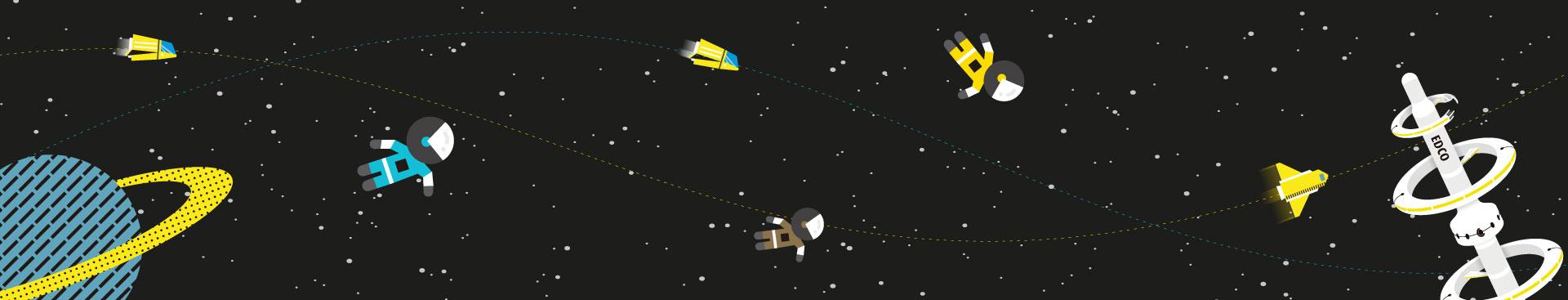 astronautas espacio satalite edco
