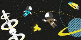 espacio astronautas ilustracion naves satelite uniandes