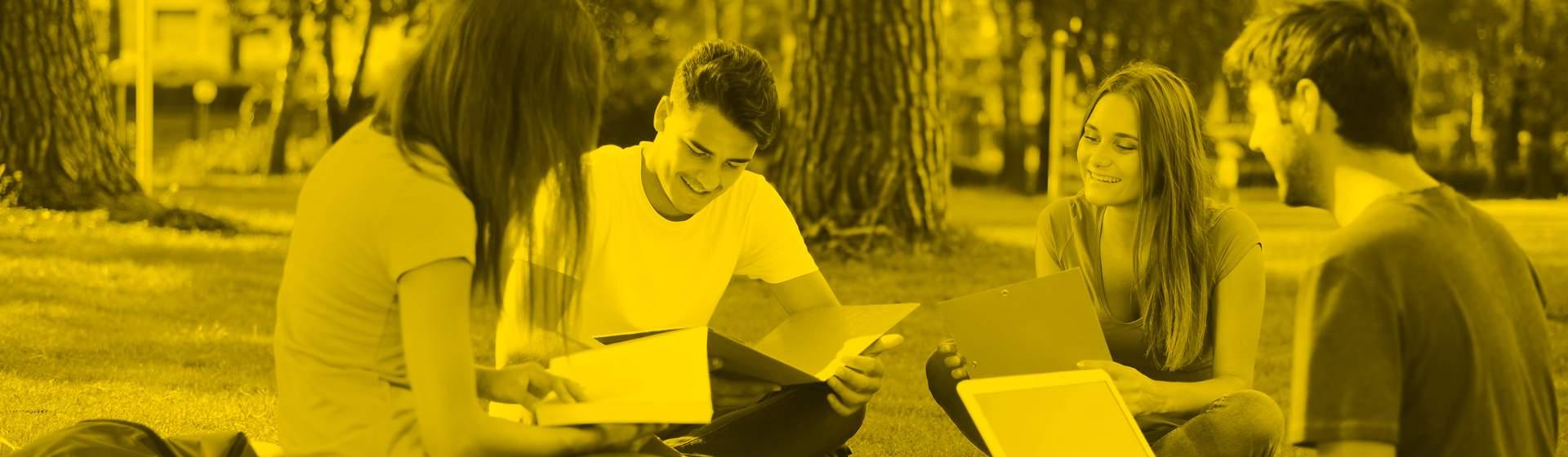 jovenes estudiando campus